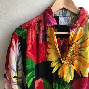 Bold Floral Print 90s Blouse | Size Small